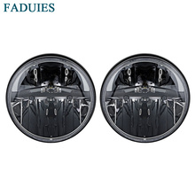 FADUIES 1 Pair 7 Inch Black Round LED Headlights with H4 High Low Beam For Jeep Wrangler JK TJ Hummer H1 & H2