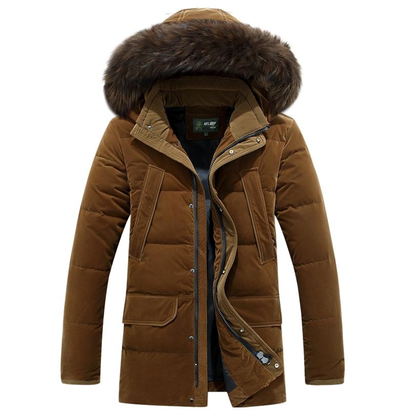 Erkek Kıyafeti'ten Şişme Ceketler'de Marka Erkekler Aşağı Ceketler Kürk Yaka Kalın Sıcak Rüzgar Geçirmez Rusya Kış Ceket Erkekler Beyaz Ördek uzun kaban Erkek Palto 30 derece'da  Grup 2