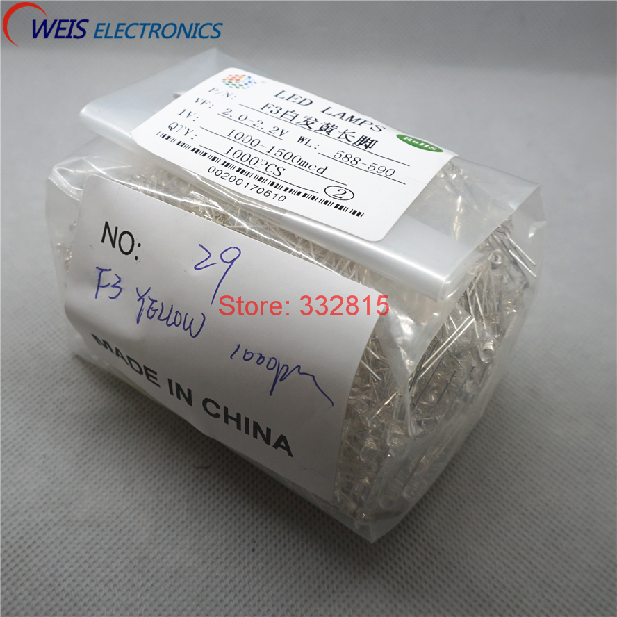 We Have Won Praise From Customers 1000pcs F3 Yellow Led Dip-2 3mm Round Water Clear Long Legs 2.0-2.2v 1000-1500mcd Light Emitting Diode Lamp Free Shipping D Light Beads