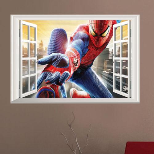 3D Amazing Spiderman Wall Stickers Vinyl Art Decal Boys Kids Bedroom ...