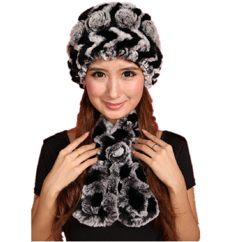 Luxury Winter Fur Hat Set Floral Women's Winter Hat Natural Rex Rabbit Fur Scarf, Soft Hand Knitted Warm Autumn Fur Beanie H311
