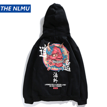 THE NLMU Hip Hop Dragon Print Hoodies Men 2018 Japanese Style Sweatshirts Cotton