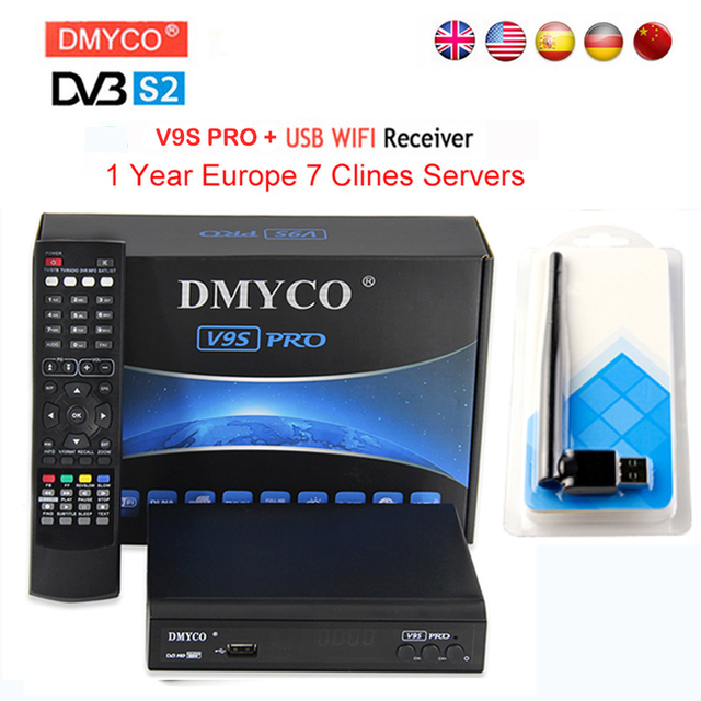 7 clines for 1 year europe DMYCO Satellite Receiver DVB-S2 1080p HD Satellite Decoder+USB WIFI Support Newcam Youtube IPTV 3G
