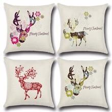 1PC 45*45cm Cotton&Linen Christmas Pillow Cover Cushion Office Nap Santa Claus Throw Pillow Case OU 015 santa claus and trees pattern linen pillow case