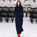 2016 Autimn e Invierno Nueva Moda de Lana Ultra Larga Capa de la Chaqueta de Manga Larga Da Vuelta-abajo de Las Mujeres Delgadas abrigo Azul Outwear