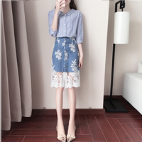 Fashion Summer Women 2 Pieces Set 1 2 Sleeve Striped Shirt And Lace Denim Skirt Casual