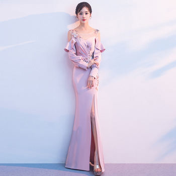 Long Sleeve Chinese Sexy High Split Oriental Party Female Cheongsam Stage Show Qipao Elegant Celebrity Banquet Dresses