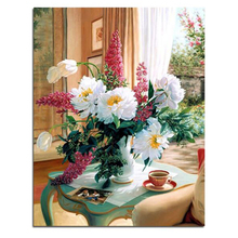 WEEN White Flowers-DIY Oil Painting Drawing with Brushes Paint, Paint by Number Kit for Adults, Kid 40x50cm