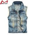 Homens verão Plus Size Denim Buraco Colete Jeans Sem Mangas Colete Jaqueta Outwear Coletes YL590