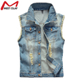 Summer Men Plus Size Denim Vest Hole Sleeveless Jean Waistcoat Jacket Outwear Vests YL590