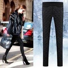 2018 Down Cotton Women Winter Trousers Femme Pants Black Female Warm Pencil Pants Solid Plus Size With Velvet Pantalon