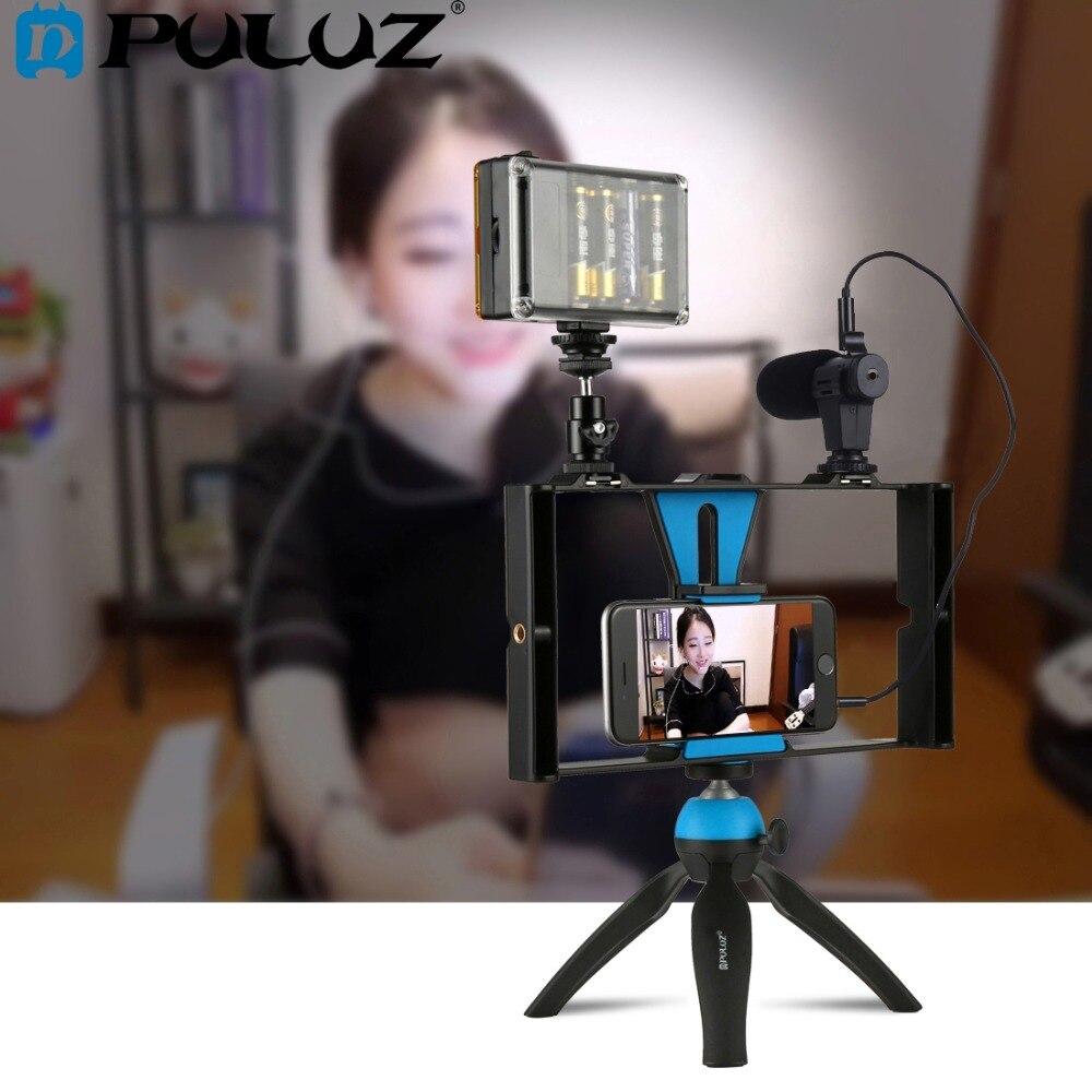 PULUZ Dual Handheld Filmausrüstung Aufnahme Vlogging Video Rig Fall Stabilisator Film Stetige Griff Grip Rig für iPhone, Smartphones