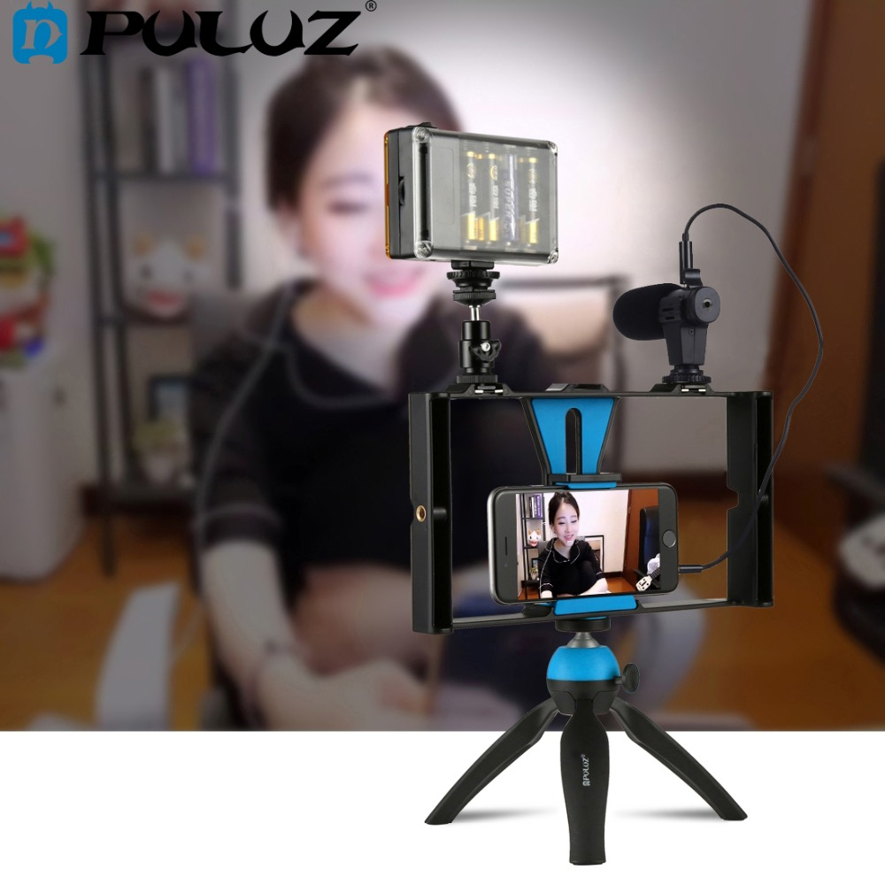 PULUZ Dual Handheld Filmmaking Recording Vlogging Video Rig Case Stabilizer Film Steady Handle Grip Rig for iPhone ,Smartphones ulanzi smartphone video handle rig filmmaking stabilizer case rig for movie youtube video led light