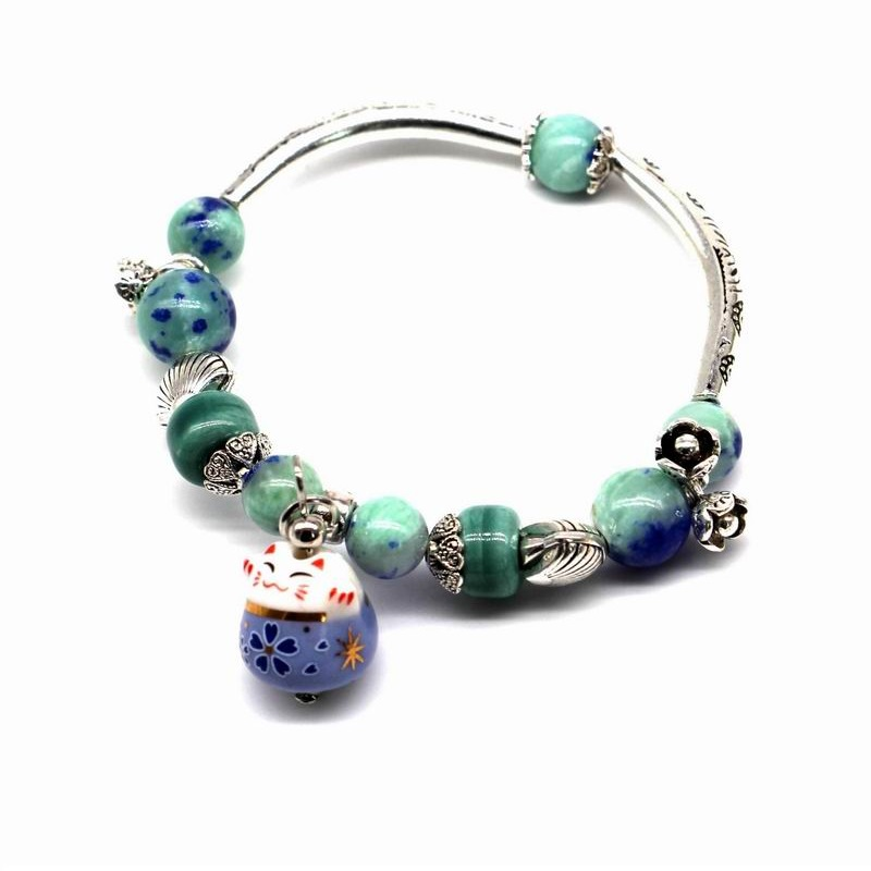 2017 New Lucky Cat Bracelet For Women And Girls Natural Stone Beaded Jewelry Pink and Blue Colors Cute Gift