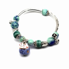 2016 New Lucky Cat Bracelet For Women And Girls Natural Stone Beaded Jewelry Pink and Blue Colors Cute Gift