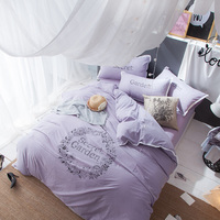 2017New Luxury 100 Washed Cotton Sheets Solid Purple Bedding Set King Queen Size Quilt Duvet Cover