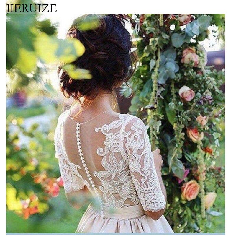 JIERUIZE ヴィンテージレースアップリケシャンパンのウェディングドレス 2019 ハーフスリーブシアーボタン花嫁のドレスウェディングドレスマリアージュ  グループ上の ウェディング & イベント からの ウェディングドレス の中 3
