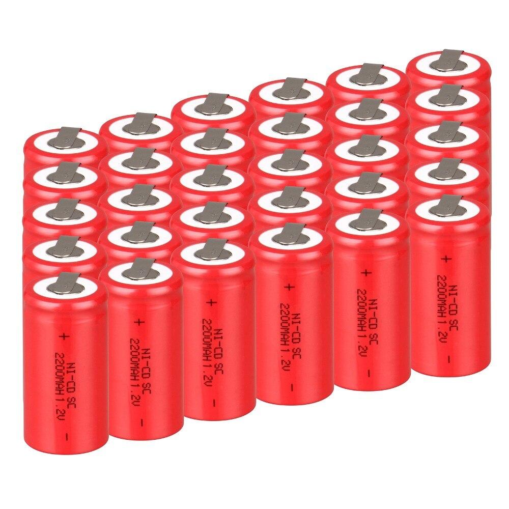 Prix pour 30 pcs SC batterie SUBC batterie rechargeable batterie 1.2 v 2200 mah batterie puissance banque accumulateur