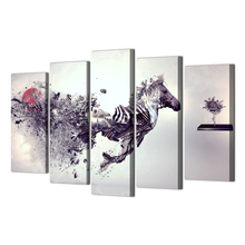 Decorative Painting 5 Piece Abstract Zebra HD Printed Painting Canvas Print Room Decor Poster Picture Canvas 5 Piece Canvas Art