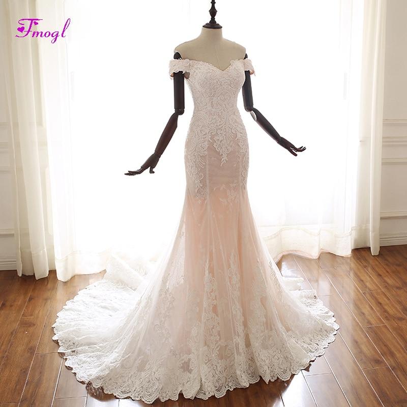Trumpet Wedding Dresses 2019: Fmogl Charming Boat Neck Lace Up Mermaid Wedding Dresses