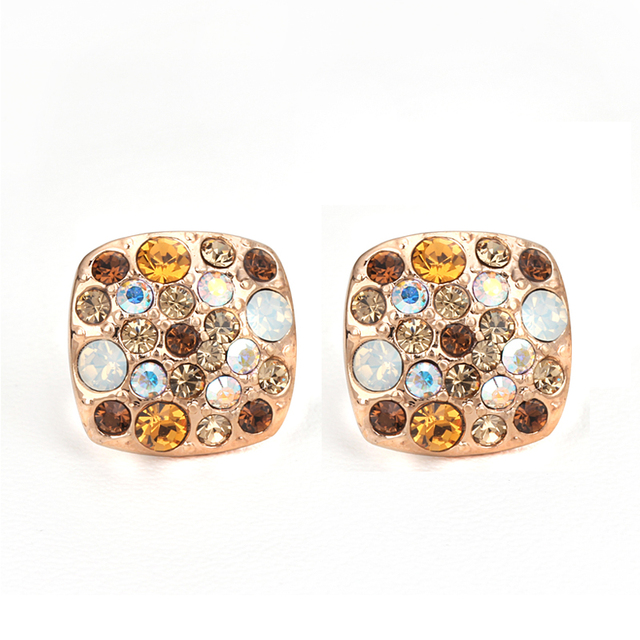 ZYE006 Golden Stars 18K Rose Gold Plated Stud Earrings Jewelry Made with Genuine Austrian Crystal  Wholesale