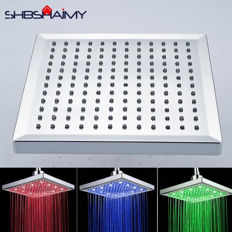 SHBSHAIMY Chrome Finished LED Shower Head LED Color Changing Bathroom 8 Square Rain Bathroom Shower Head 8 square led color changing shower head wall mount bathroom top head brass shower arm