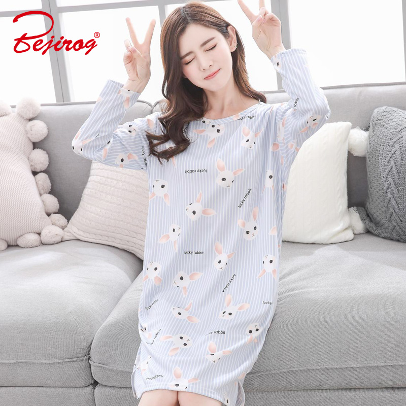 Bejirog 2018 milk silk girl sleepwear women   Nightgown   ladies   sleepshirts   plus size sleep clothing autumn long sleeved nightdress