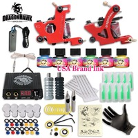 Beginer Tattoo Kit Complete Machine Gun 10 Color Inks Power Supply Set D1034 3