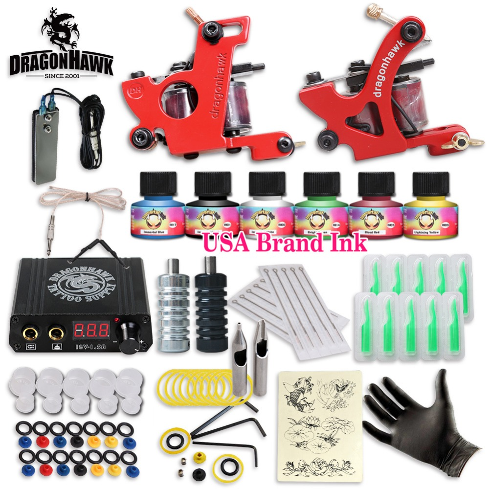 Free cheap tattoo kit complete 2 tattoo machines 6 colors for Cheap tattoo supplies free shipping
