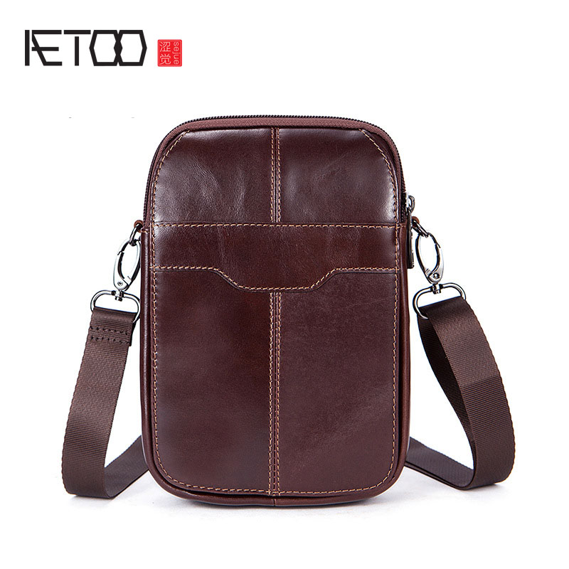 AETOO Leather men bag brand retro first layer of leather men 's pockets fashion casual shoulder Messenger bag aetoo genuine leather male bag korean version of the retro men s shoulder bag head layer of leather vertical paragraph messenger