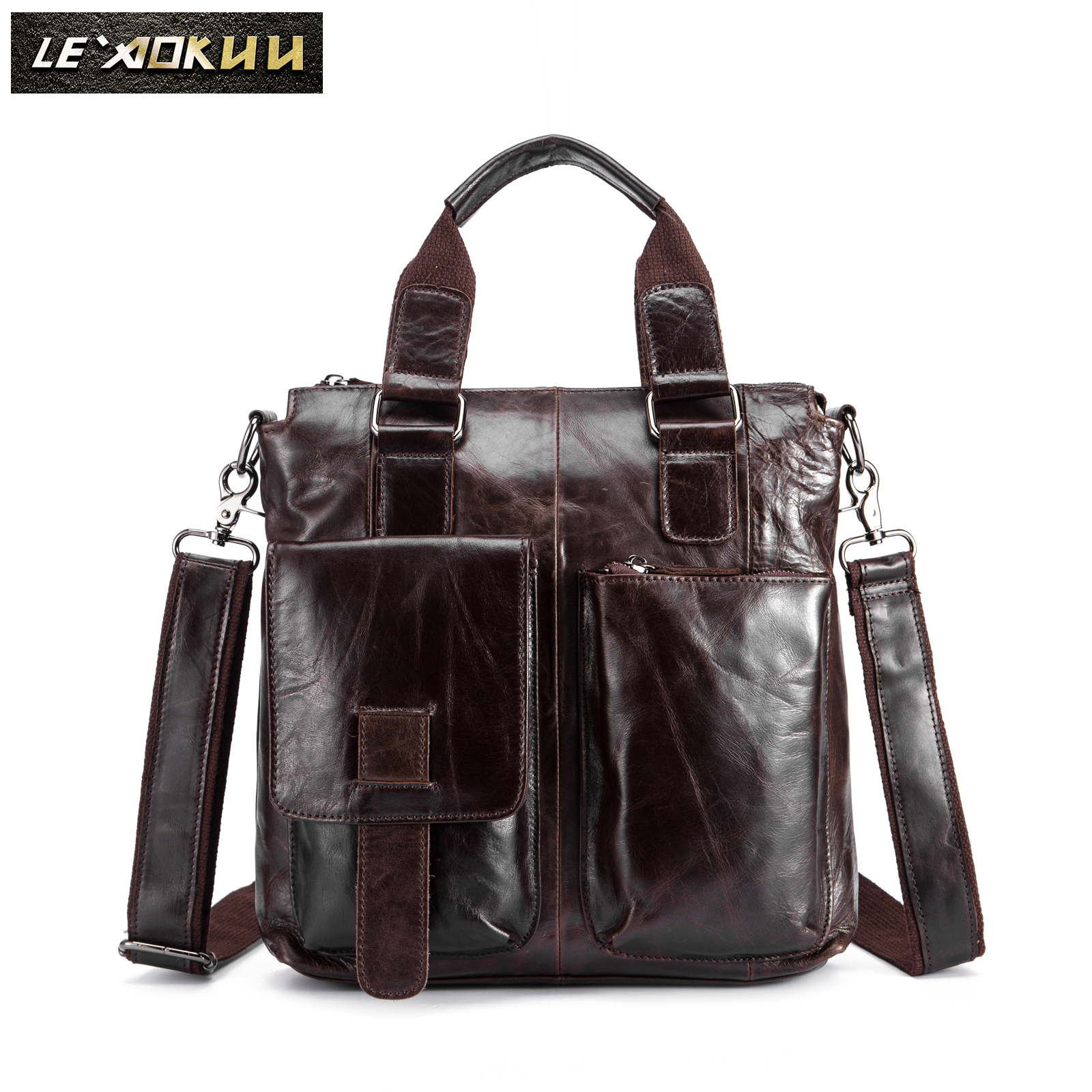 Men Original Leather Retro Designer Business Briefcase Casual 12