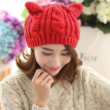 купить New Women Knitted Wool Hat Cap Cat Ears Gorros Beret Beanie Touca Bonnet Crochet Braided Ski Winter Warm Hats по цене 617.44 рублей