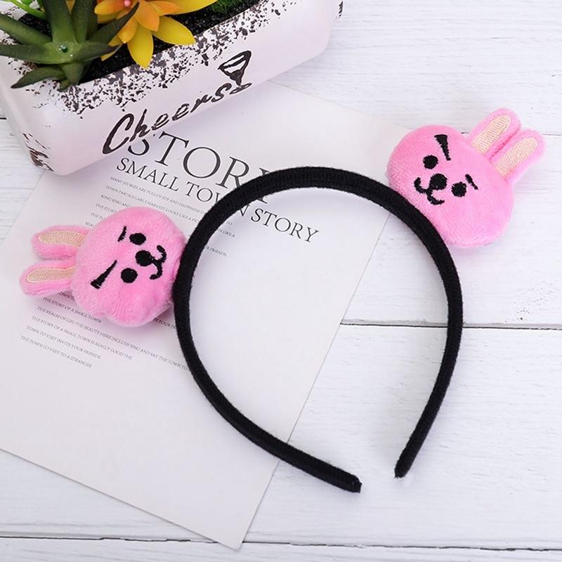 Cartoon Fashion Kpop Plush Kawaii Band Bangtans Girls  Style Pink Rabbit Headbands Plush Hair Hoop Accessories Gift Head Band(China)