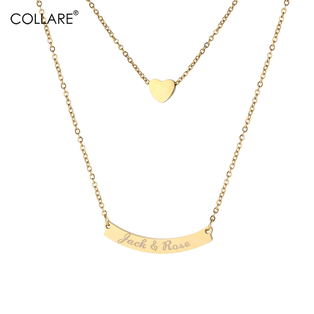Collare Engraved Bar Necklace Women Personalized Initial Custom Gift Gold Color Stainless Steel Double Layer Heart Jewelry N042