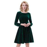 2016 Women Dress Velvet Flannel Half Sleeve Elegant Vintage Fitted Casual Vestidos 50s Formal Party Sheath