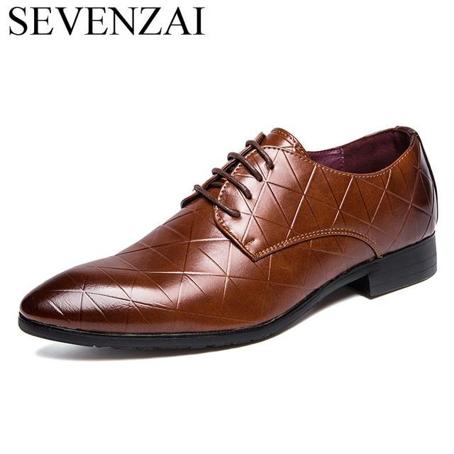 2eec459c3 Escritório designer listrado homens calçados de couro sapatos de marcas de  luxo do vestido formal masculino