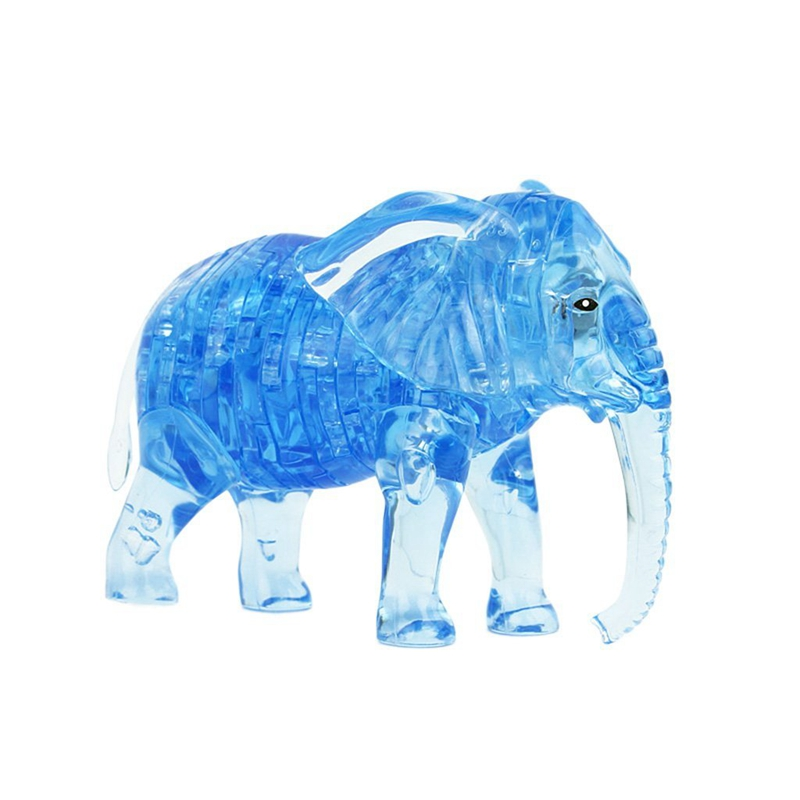 DIY 3D Puzzle Crystal DIY Toy Model Decoration Gift For Children - Elephant - Blue