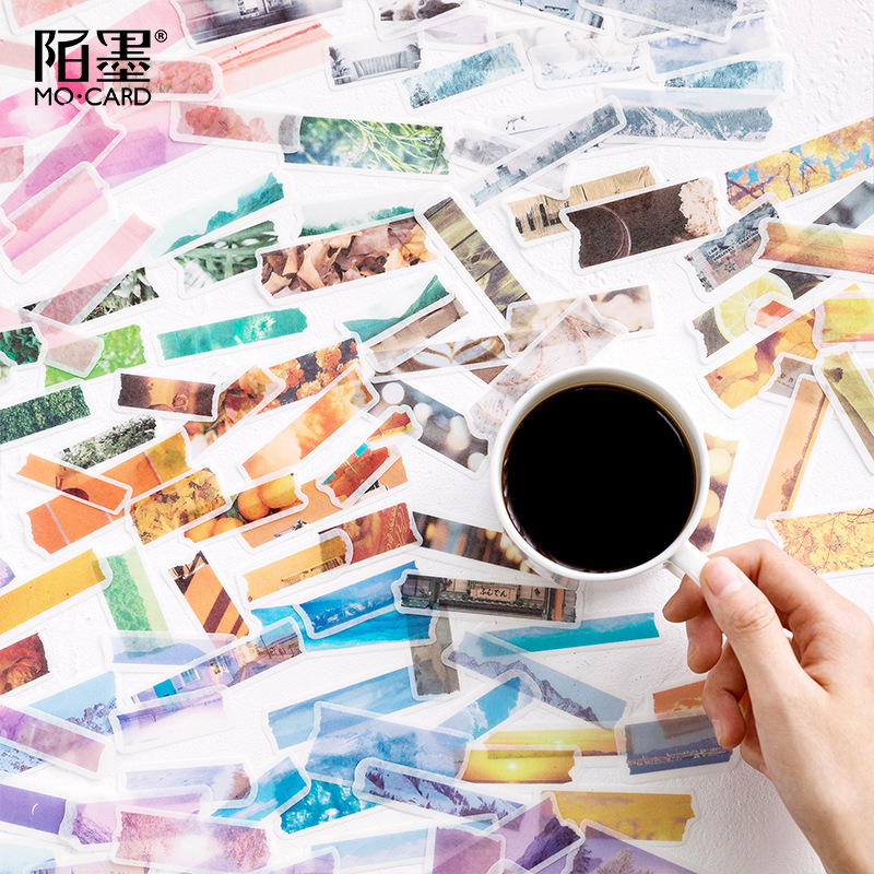 Mohamm Hand Tear Tape Series Kawaii Cute Sticker Custom Stickers Diary Stationery Flakes Scrapbook DIY Decorative Stickers