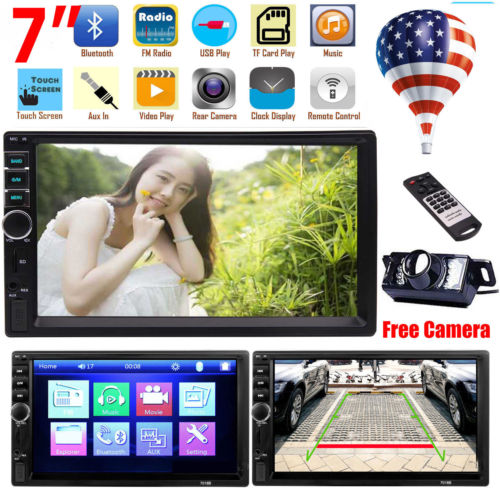 Rear Camera+Audio Player Double Din Bluetooth FM Radio Car Stereo 7'' Monitor Steering Wheel Control Wireless Remote Controller car universal steering wheel portable button remote control car navigationdvd bluetooth controller audio volume bluetooth contr