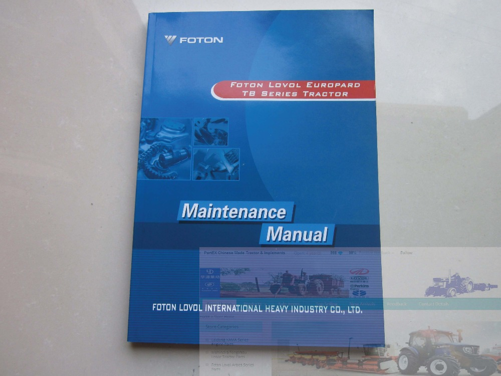 Foton Lovol Europard TB Series tractor parts catalog-the maintenance manual, English version