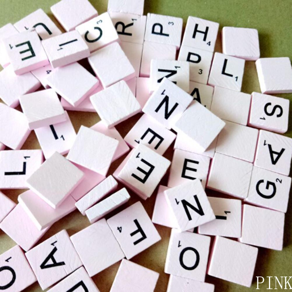 Mixed Fun Wooden Alphabet Scrabble Tiles Black Letters & Numbers Crafts Wood intelligence Toys Baby Hot 100Pcs