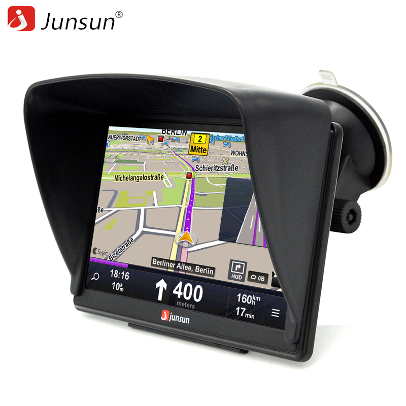 Junsun 7 inch HD Car GPS Navigation Bluetooth AVIN Capacitive screen FM 8GB Vehicle Truck GPS Europe Sat nav Lifetime Map beling g710a car gps navigation with av in 7 in touch screen wince 6 0 8gb vehicle navigator fm sat map mp4 sat nav automobiles