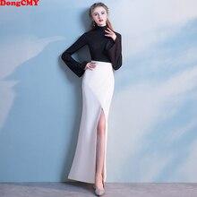DongCMY роскошное длинное вечернее платье с длинным рукавом черного и белого цвета, вечерние женские элегантные платья с разрезом в стиле ампир
