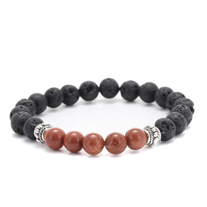 Модные ювелирные изделия античный серебряный браслет из бусин черный натуральная Лава браслеты из камней Pulseras Hombre для мужчин женщин любовь подарок для пары