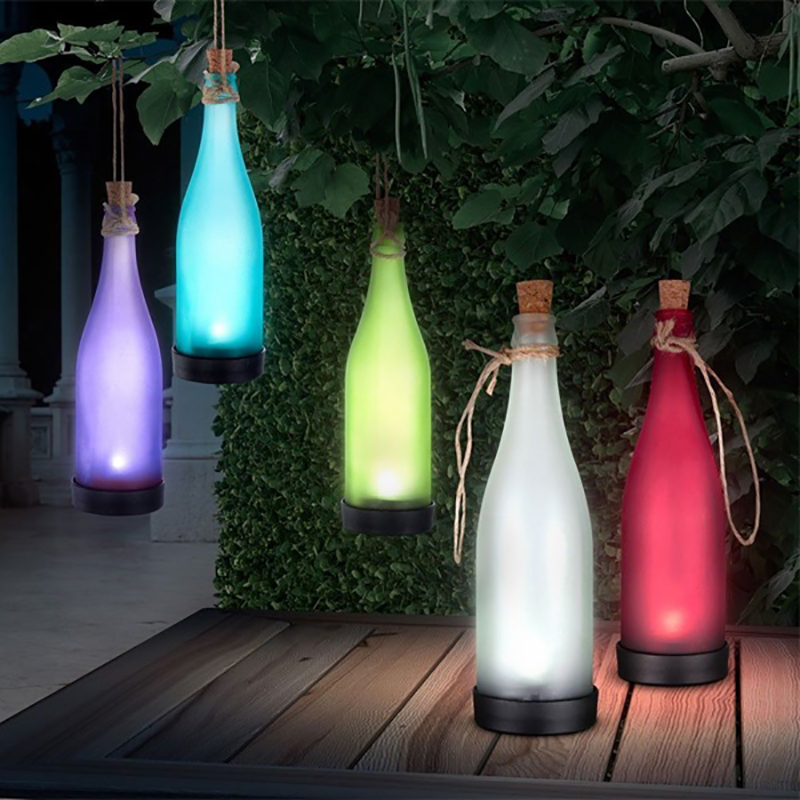 Waterproof Colour Outdoor Solar Bottle Hanging Lamp Garden Landscape  Chandeliers Night Star Light Creative Lawn Drop