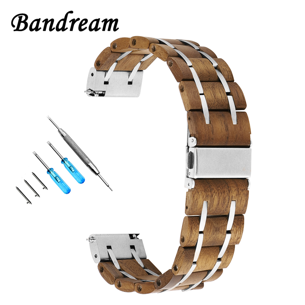 Genuine Wood + Stainless Steel Watchband 22mm for Huawei Watch 2 Classic Pebble Time Moto 360 2 46mm Quick Release Band Strap new 22mm silver stainless steel gold watch band bracelet for moto 360 watchband