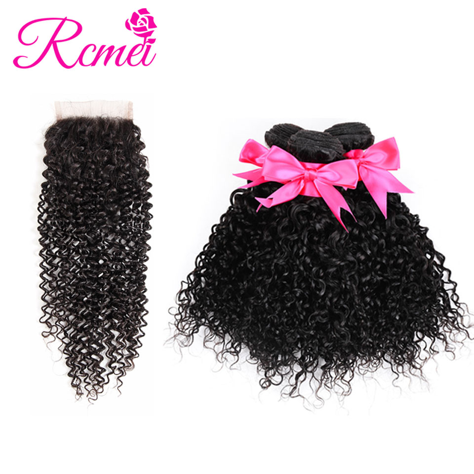 Rcmei Brazilian Kinky Curly Bundles With Closure Afro Hair Human Hair Weaving 3 Bundles With Lace Closure Can Be Dyed Non Remy
