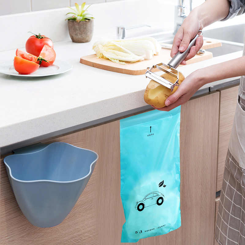 Dropship 5 pc Biodegradável Descartável Auto-Adesivo cozinha organizadores Escritório titular saco de lixo lixo Car bin lata de lixo Da Cozinha