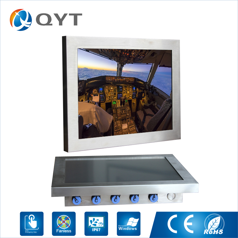 12 inch Intel 3855U 1.6GHz waterproof embedded touch screen industrial computer With RJ45 VGA/HDMI/LAN/USB/COM
