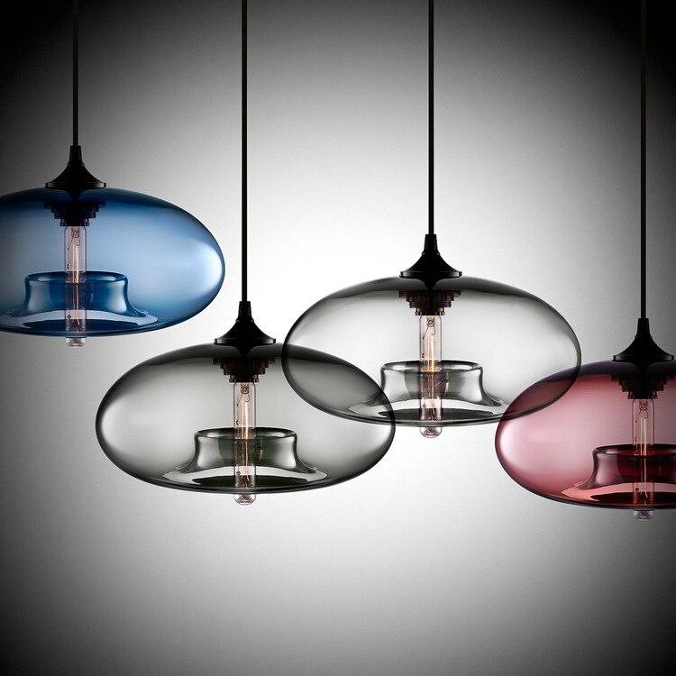 Simple round glass pendant lights art meal hanging light creative modern single head bar Nordic personalized light fixture